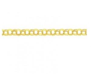 14K Gold Triple Link Charm Bracelet Jewelry 8
