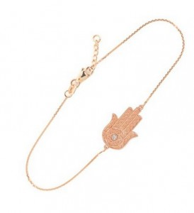 14k Rose Gold Diamond Star of David Jewish Hamsa Charm Bracelet, 7.5 to 8.0 Adjustable