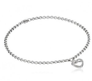 14k White Gold and Diamond Ankle Bracelet (110 cttw, H-I Color, I2-I3 Clarity), 9.5