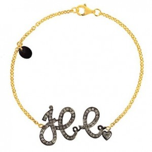 18kt Yellow Gold Diamond Pave Initial Charm Chain Bracelet Silver Fashion Jewelry